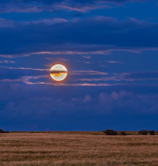 Landscape with hazy moon