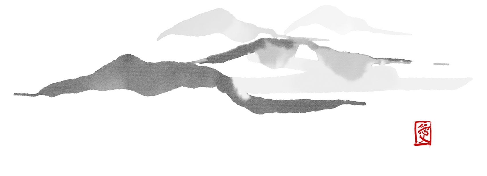 Ink painting of mountains